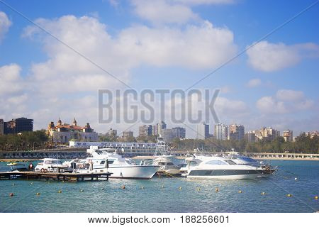 Berth of yachts by the sea in Alexandria Egypt.