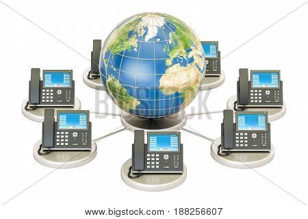 VoIP concept with Earth globe global communication concept. 3D rendering isolated on white background