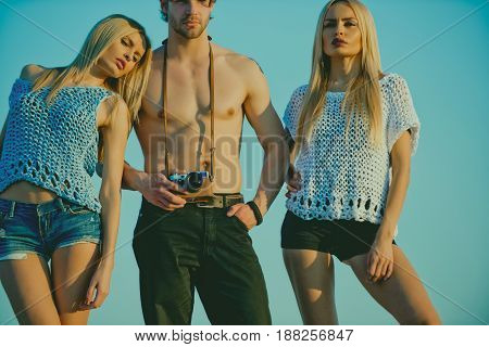 Girls And Man With Camera