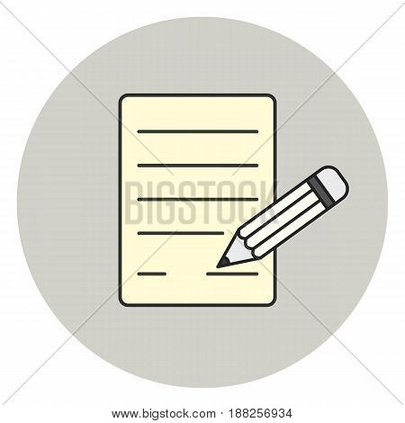 paper and pencil icon, signature symbol, office document sign