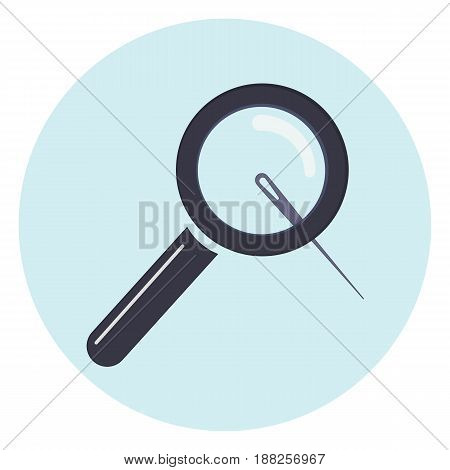 Magnifier with needle icon, loupe examine little needle