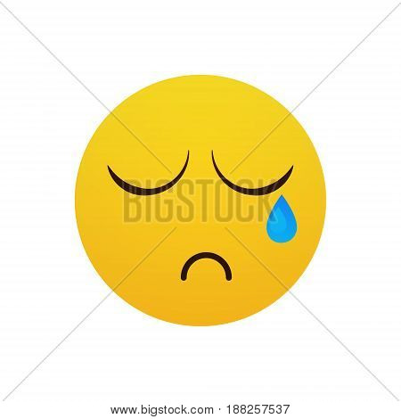 Yellow Cartoon Face Cry Tears People Emotion Icon Flat Vector Illustration
