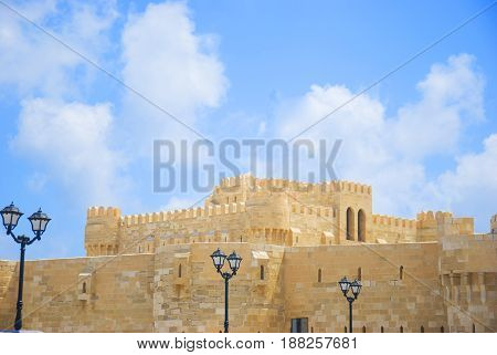 The Qaitbay Citadel the famous landmark in Alexandria located by the Mediterranean Sea. This area is believed that it used to be the location of the Pharos.