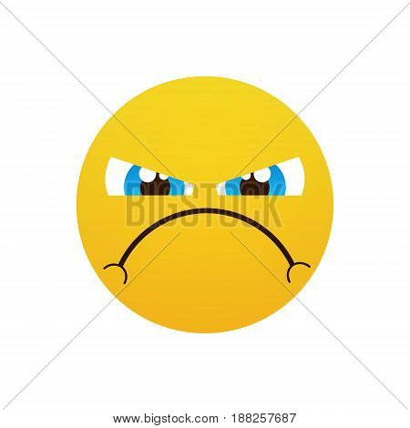 Yellow Cartoon Face Angry People Emotion Icon Flat Vector Illustration