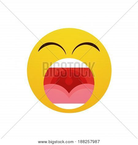 Yellow Cartoon Face Screaming People Emotion Icon Flat Vector Illustration