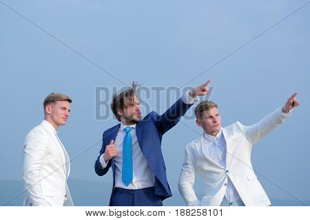 Man And Twins Guys On Blue Sky, Agile Business