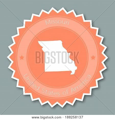 Missouri Badge Flat Design. Round Flat Style Sticker Of Trendy Colors With The State Map And Name. U