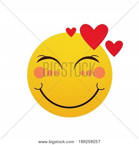 Yellow Smiling Cartoon Face Shy Positive People Emotion Icon Flat Vector Illustration