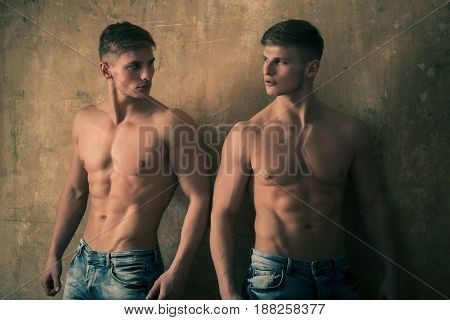 Men Posing With Strong, Naked Torso