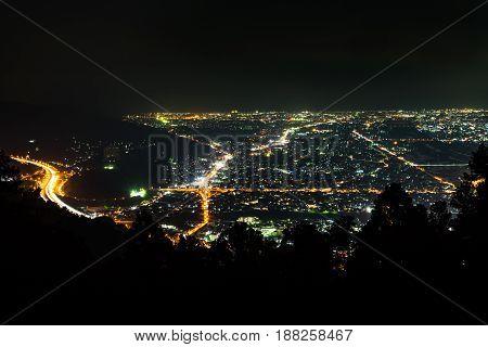 Nightview of Ashigara Plain (Odawara Area) in Kanagawa, Japan.