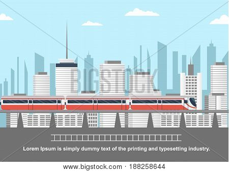 Subway above ground in front of cityscape with copyspace for text
