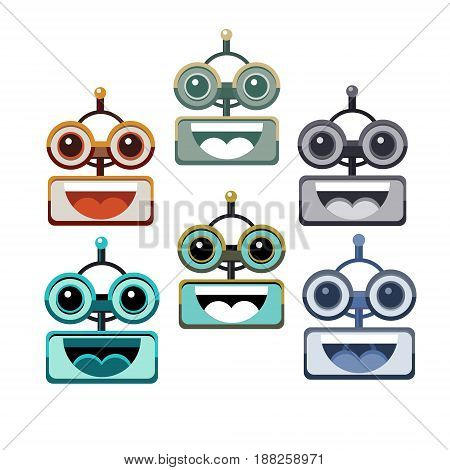 Cartoon Robot Face Smiling Cute Emotion Open Mouth Chat Bot Icon Set Flat Vector Illustration