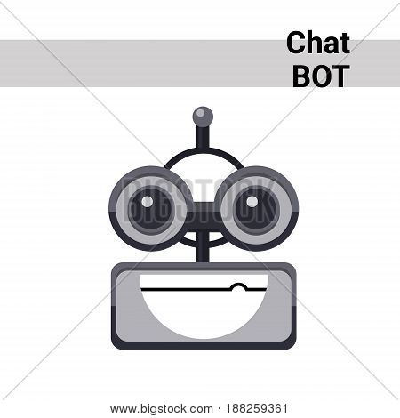 Cartoon Robot Face Smiling Cute Emotion Open Mouth Chat Bot Icon Flat Vector Illustration