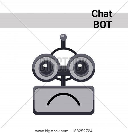Cartoon Robot Face Smiling Cute Emotion Sad Chat Bot Icon Flat Vector Illustration