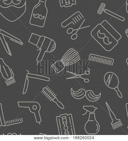 Seamless pattern with tools for barber shop, thin line icons. Shaving accessories collection. Decorative wallpaper, good for printing. Vector illustration for background.