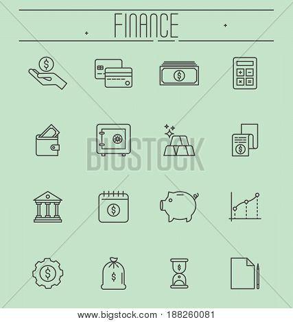 Set of thin line icons - money, finance, payments. Vector illustration.