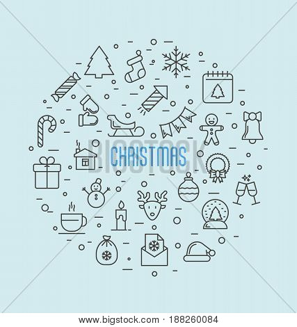Christmas celebration concept. Set of new year and christmas symbols in circle for background. Thin line vector illustration.