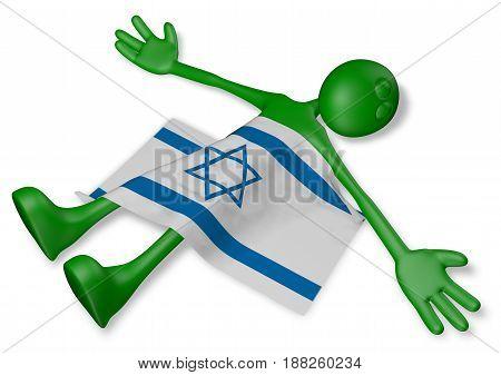 dead cartoon guy and flag of israel - 3d illustration
