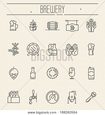 Set of thin line icons of beer and brewery. Modern vector illustration.