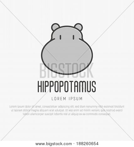 Logo with head of hippo in thin line style. Vector illustration.