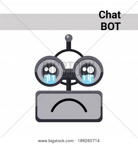 Cartoon Robot Face Cry Emotion Chat Bot Icon Flat Vector Illustration