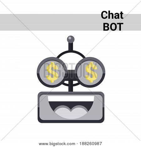 Cartoon Robot Face Smiling Cute Emotion Rich Chat Bot Icon Flat Vector Illustration