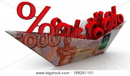 Paper boat from an Russian banknote (ruble) with the symbols of a percent on white surface. Isolated. 3D Illustration