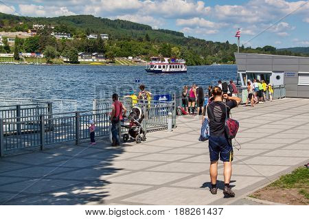 BRNO CZECH REPUBLIC -27 MAY 2017: Cruise ship at Brno dam. Vacation spot of inhabitants of Brno. Shipping at the dam was commenced in 1945