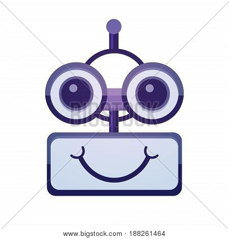 Cartoon Robot Face Smiling Cute Emotion Chat Bot Icon Flat Vector Illustration