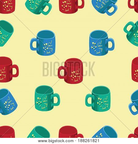 Colored cups with slogans and yellow hearts. Father's Day. Seamless pattern. Design for textiles, wrapping paper, decoration of gifts.
