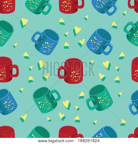 Colored cups on the inscription I love dad. Yellow background. Father's Day. Seamless pattern. Design for textiles, wrapping paper, decoration of gifts.