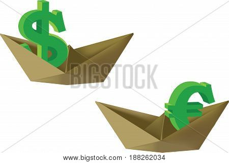 Paper boat with dollar and euro symbol