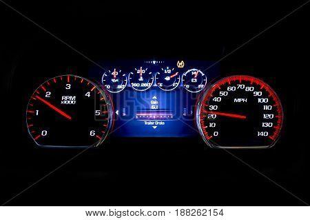 Modern Light Car Mileage On Black Background Gain