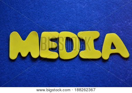 word media on a  abstract blue background