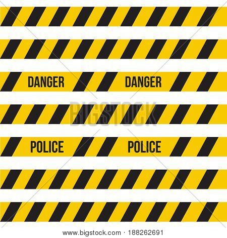 Vector yellow plastic caution tape or warning tape set.