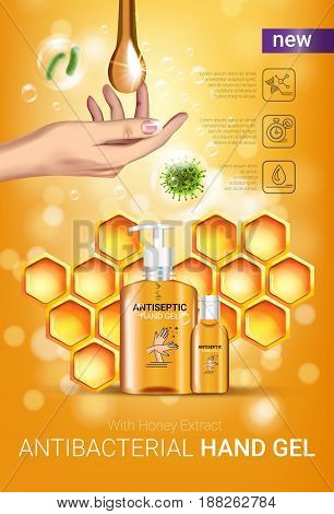 Honey flavor Antibacterial hand gel ads. Vector Illustration with antiseptic hand gel in bottles and honey elements. Vertical poster.