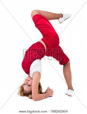 sport fitness woman doing exercises, isolated on white background in full length.
