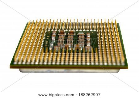 The micro elements of computer central processor unit CPU contact pins close up.