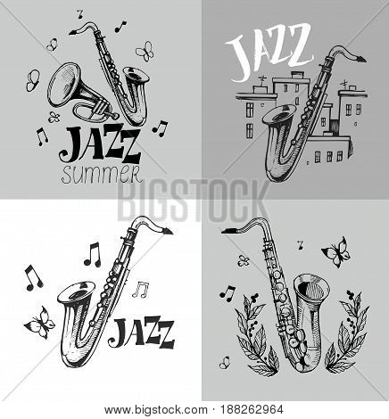 Set of Jazz emblem with a saxophone, trumpet, town. Isolated vector illustration. Design element for the create of the label, brochures, posters