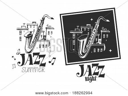 Jazz emblem with a saxophone. Isolated vector illustration. Design element for the create of the label, brochures, posters