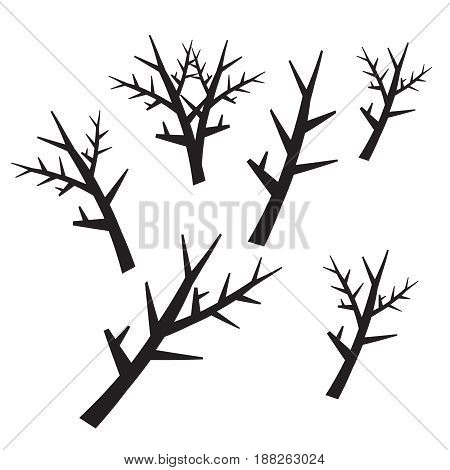 Dead tree silhouettes. Dying black scary trees forest vector illustration.