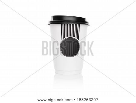 Paper cup for coffee. Isolated on white background.