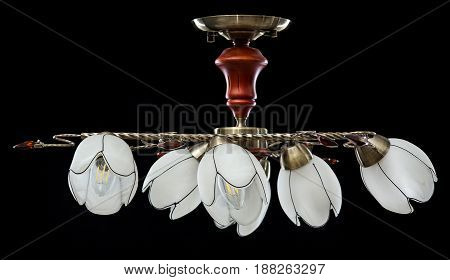 Modern Chandelier for interior decoration of the living room. Bronze Chandelier off isolated on black background.