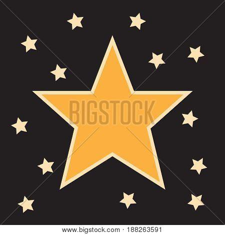 Stars shape retro 3d frame with lights.Emblem star for premiere film, decoration frame banner illustration