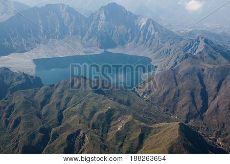 The crater of Mt. Pinatubo from the air in the Philippines