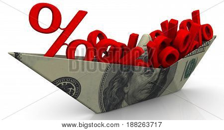Paper boat from an American banknote (dollar) with red symbols of a percent on white surface. Isolated. 3D Illustration