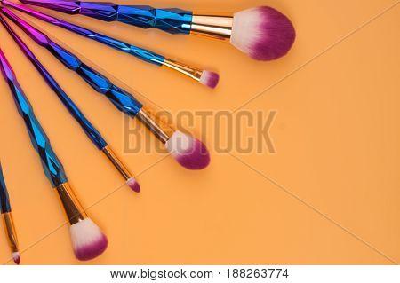 Make Up Brushes Isolated  Pastel Background