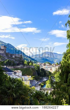 A beautiful view of the mountains Hautes Pyrenees. Lourdes, France