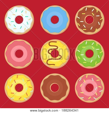 Sweets donuts sugar glazed. Vector fries pastry doughnut icons