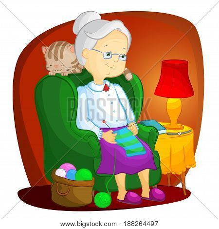 grandmother sitting in armchair and knitting under the lamp light